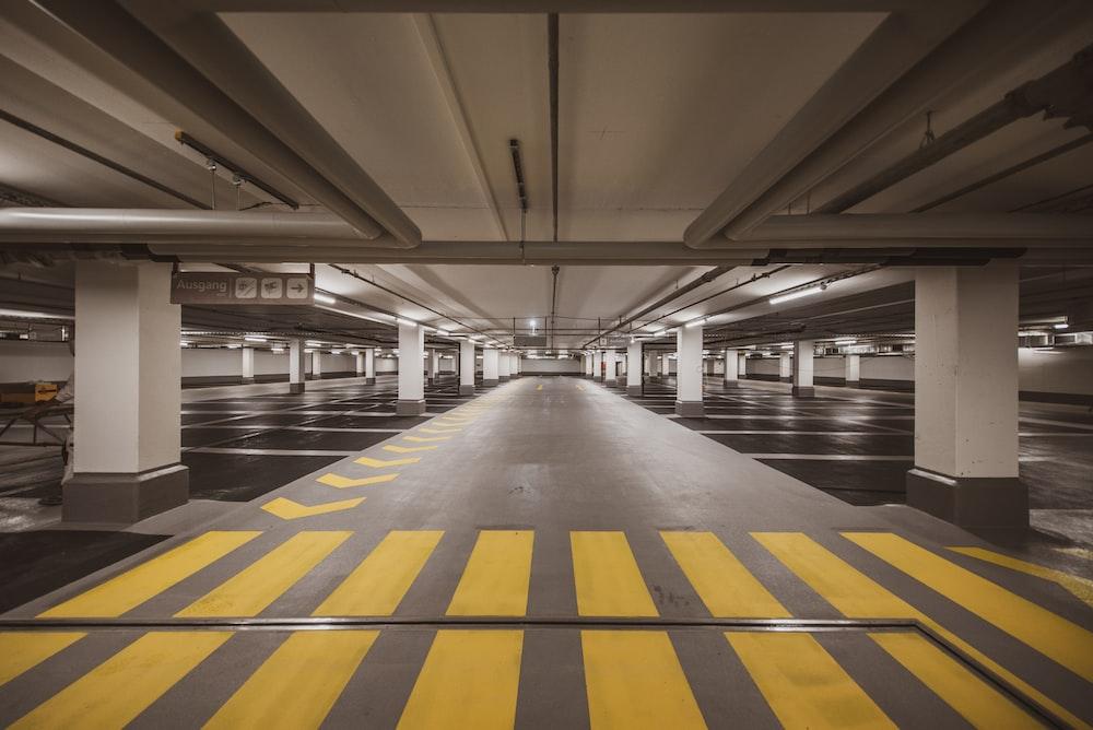 yellow and black stripe floor