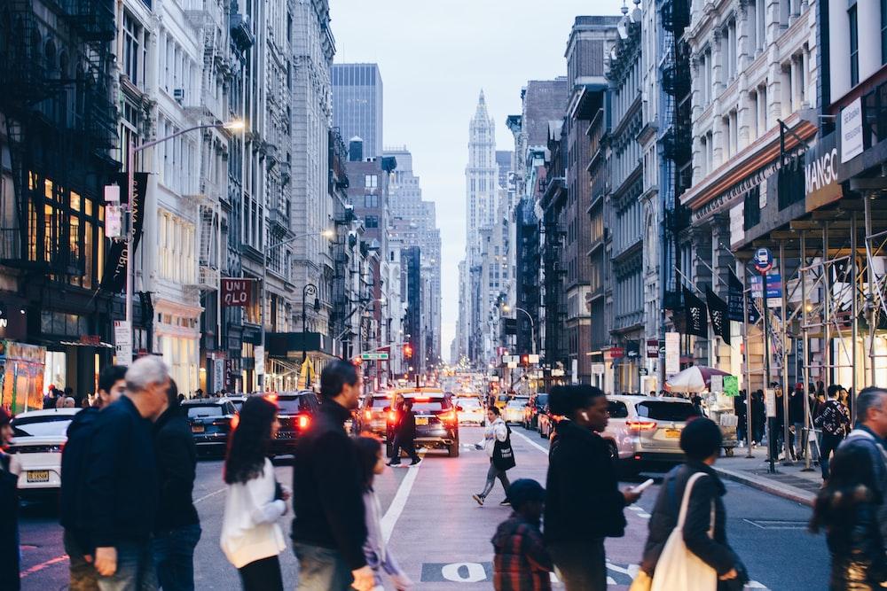 people walking on pedestrian lane in city during daytime