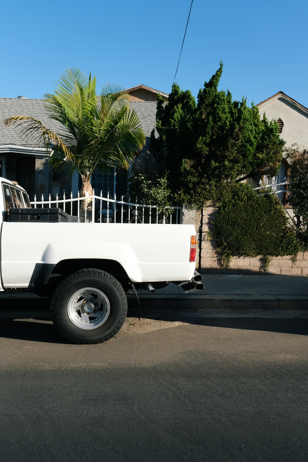 white single cab pickup truck parked near palm trees during daytime