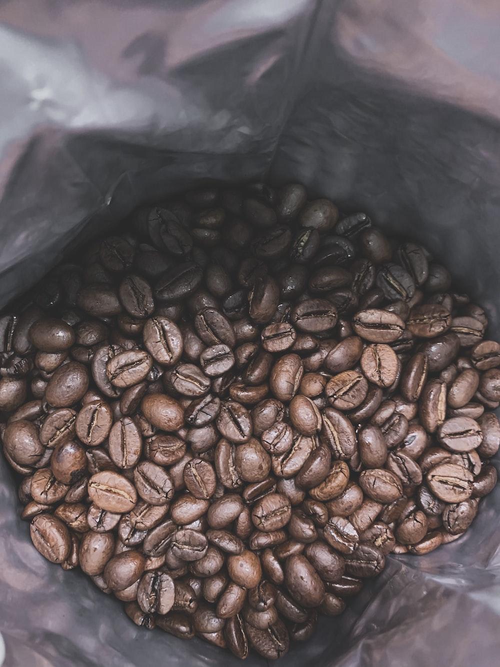 brown coffee beans in plastic bag