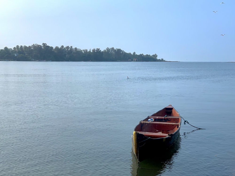 red and brown boat on body of water during daytime
