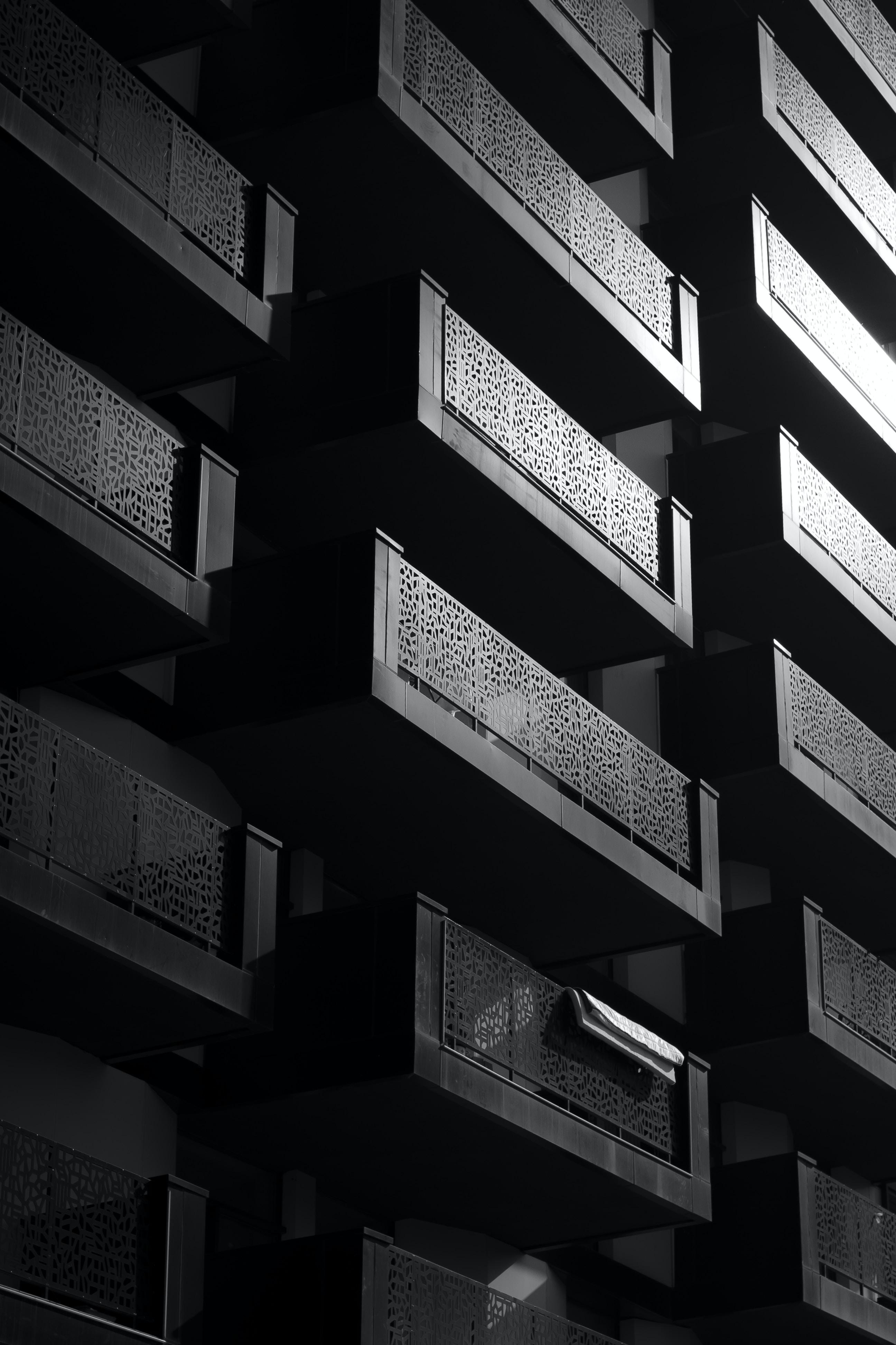 black-and-white-concrete-building