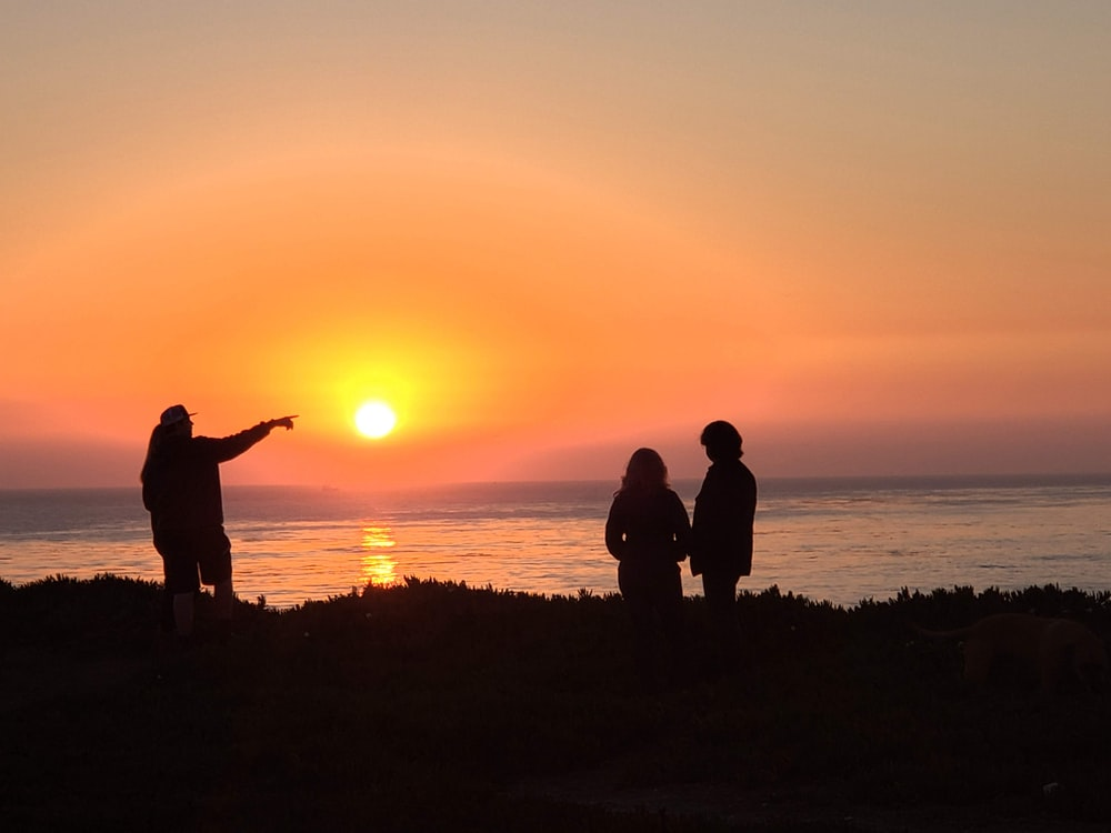 silhouette of 3 people standing on grass field during sunset