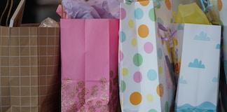 pink white and yellow polka dot paper bag