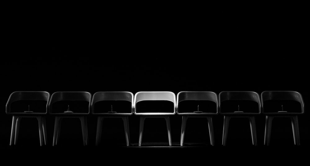 black and white chairs with no people