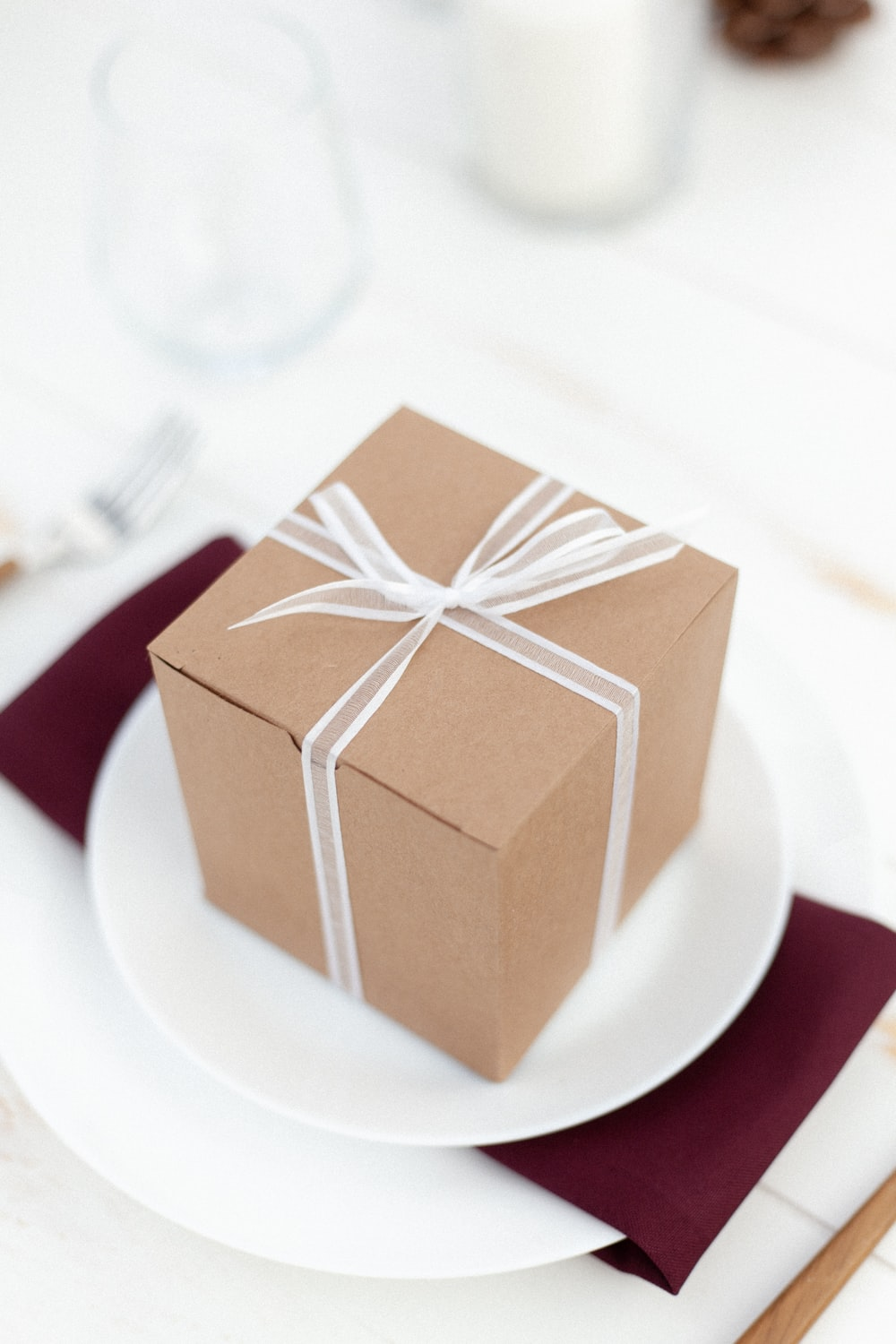 brown and white box on white ceramic plate