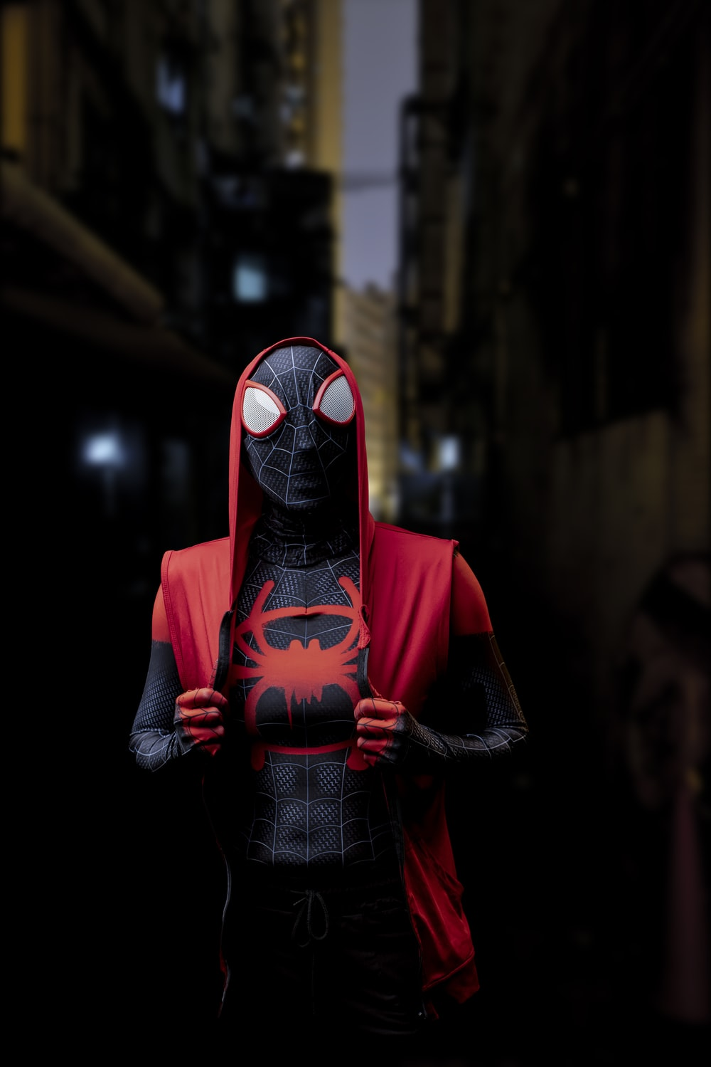 red and black spider man costume