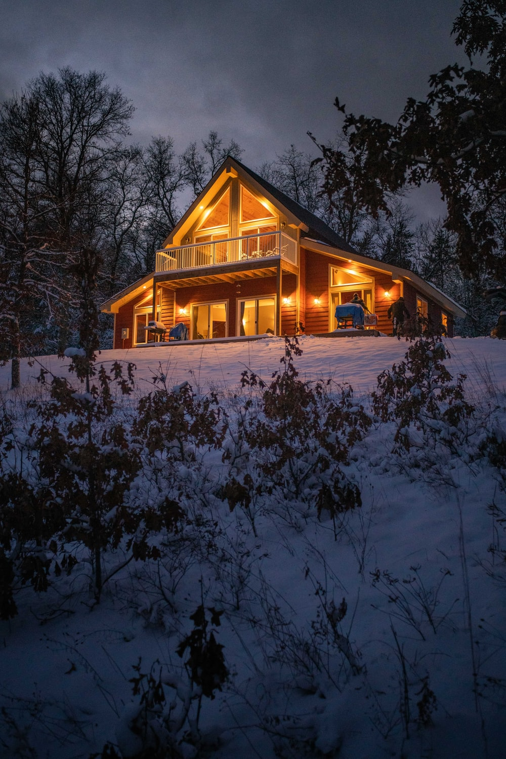 brown wooden house surrounded by trees covered with snow during night time