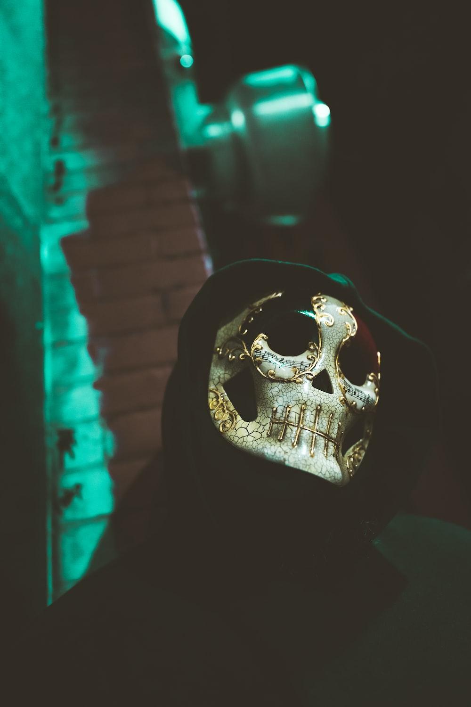 white skull with black eyes
