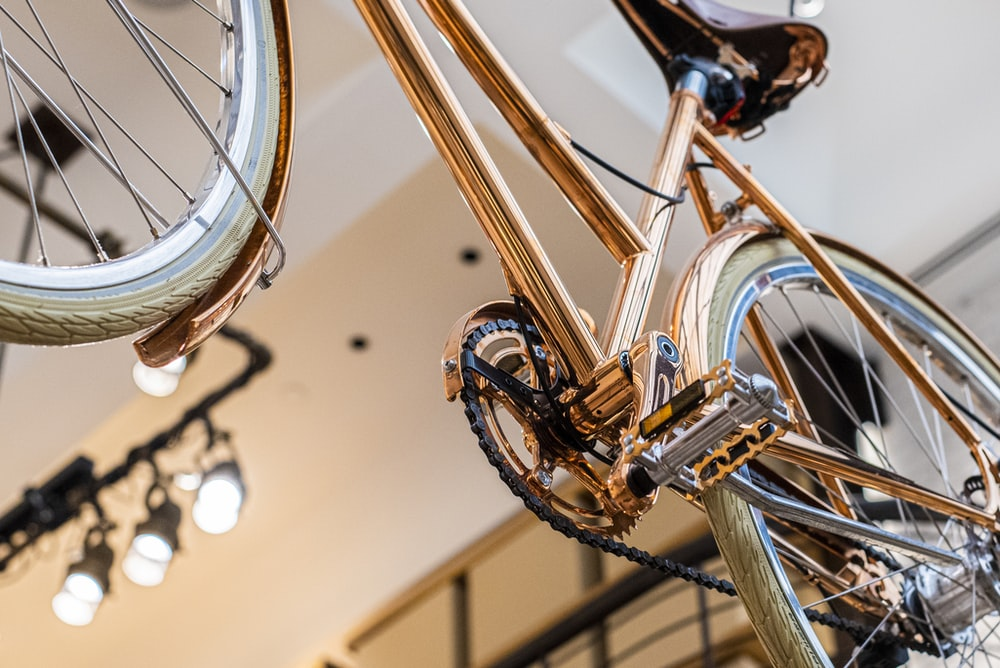 brown bicycle in tilt shift lens