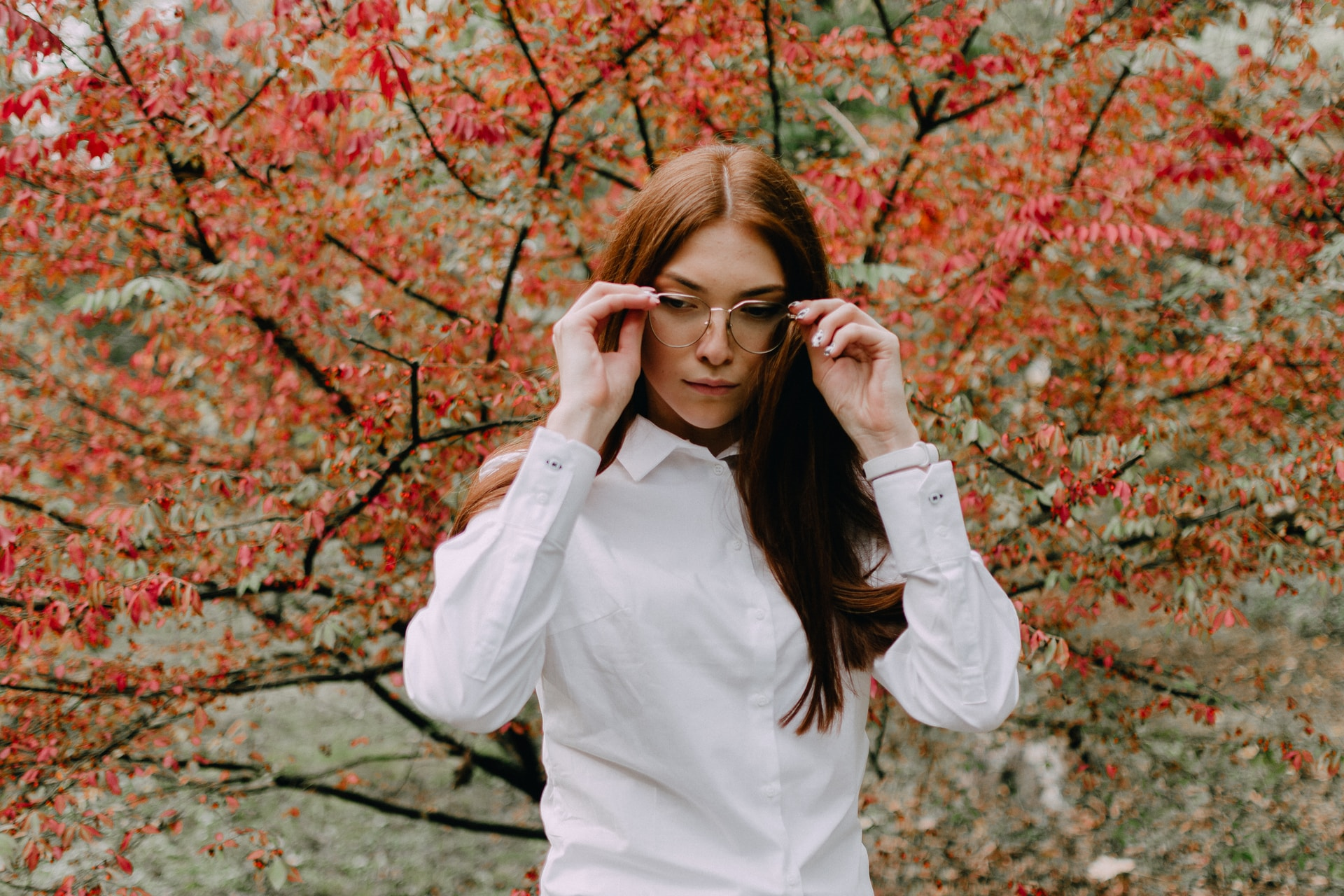 woman in white dress shirt wearing eyeglasses standing near red leaf tree during daytime