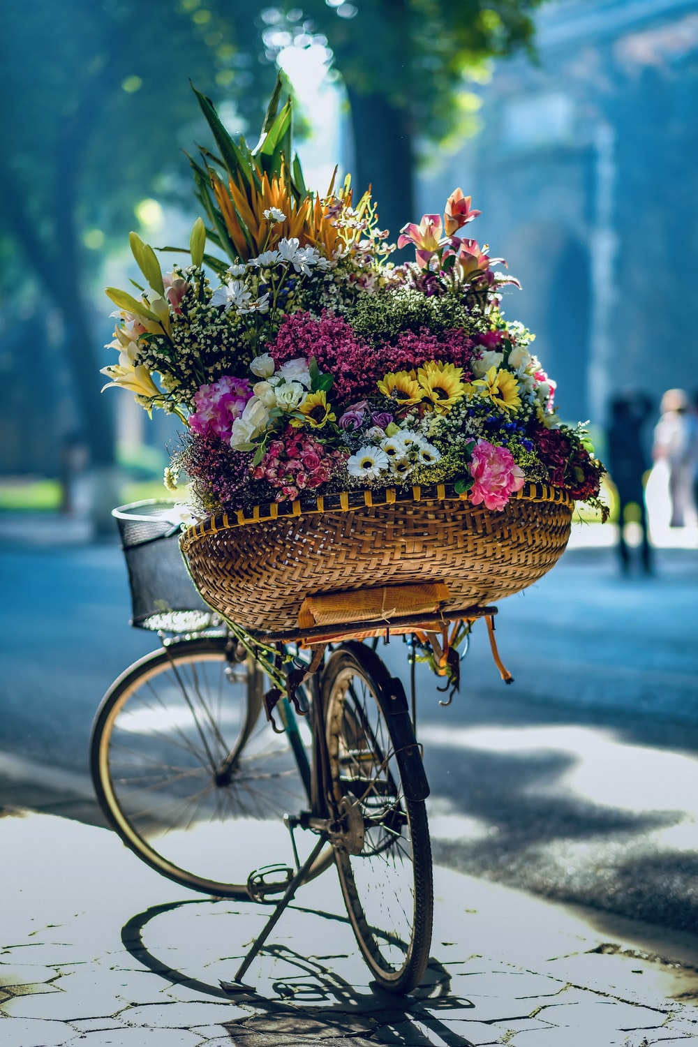 flowers in brown woven basket on bicycle