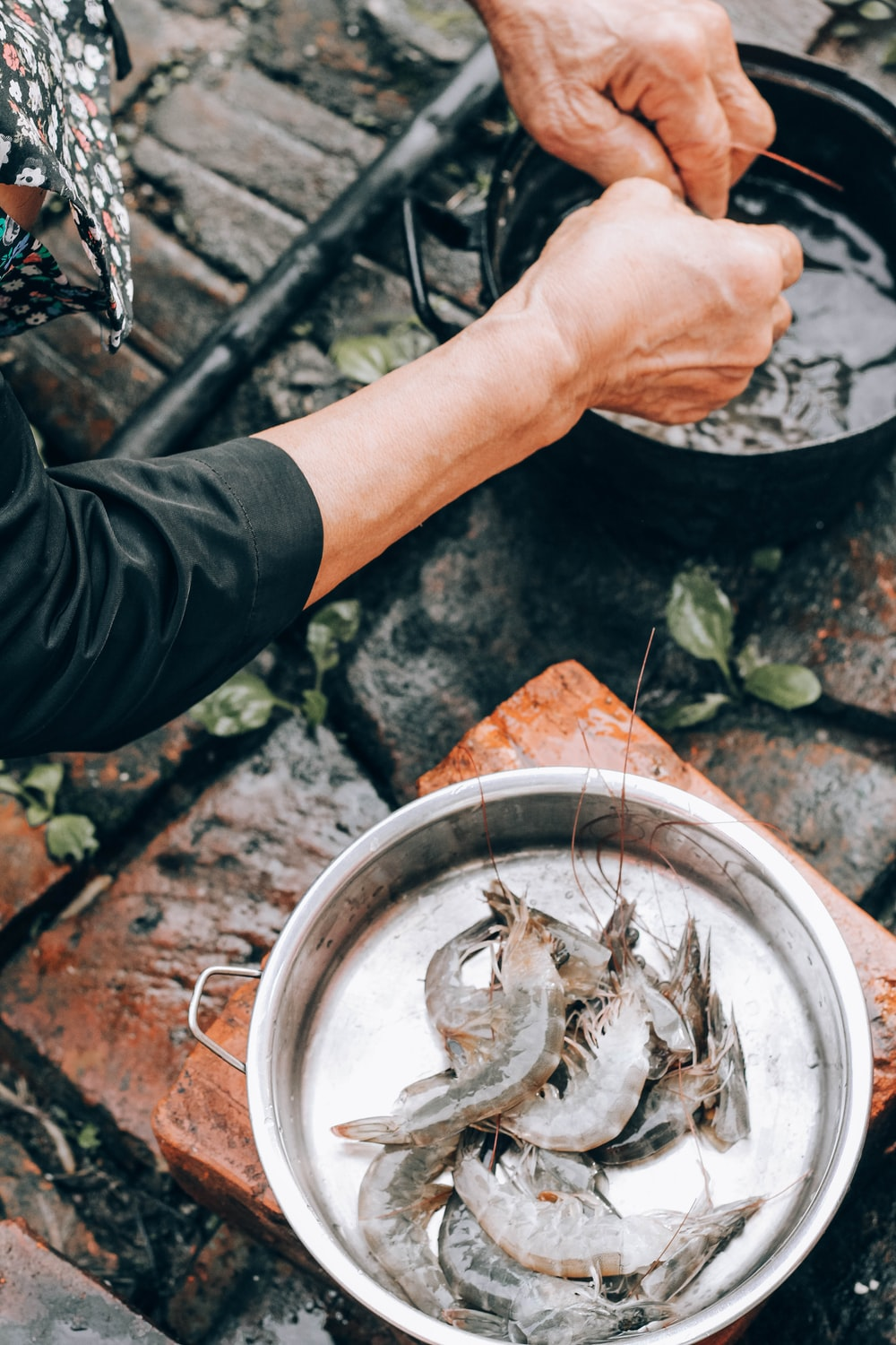 person holding stainless steel bowl with fish