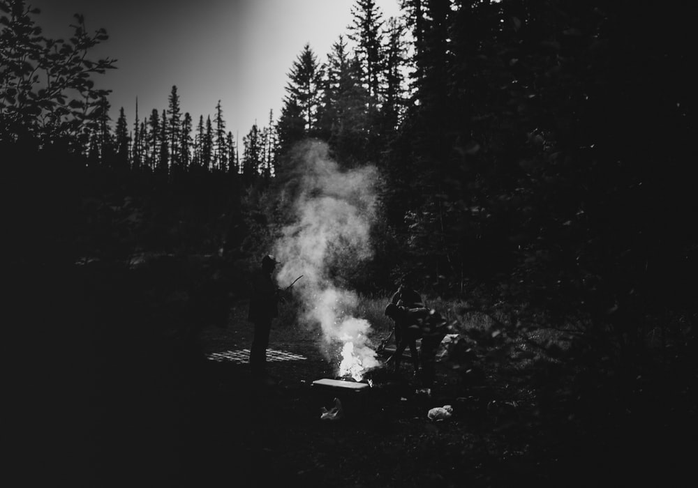 grayscale photo of a burning wood