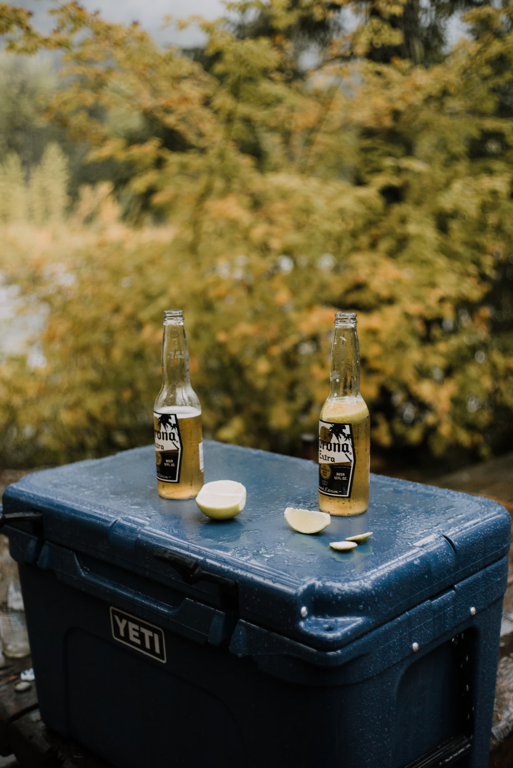 corona extra beer bottle on black wooden table