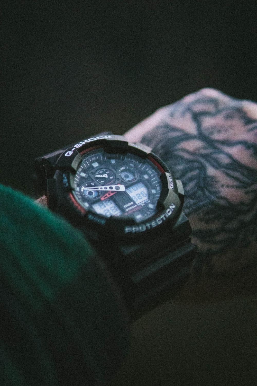 black and blue casio g shock digital watch