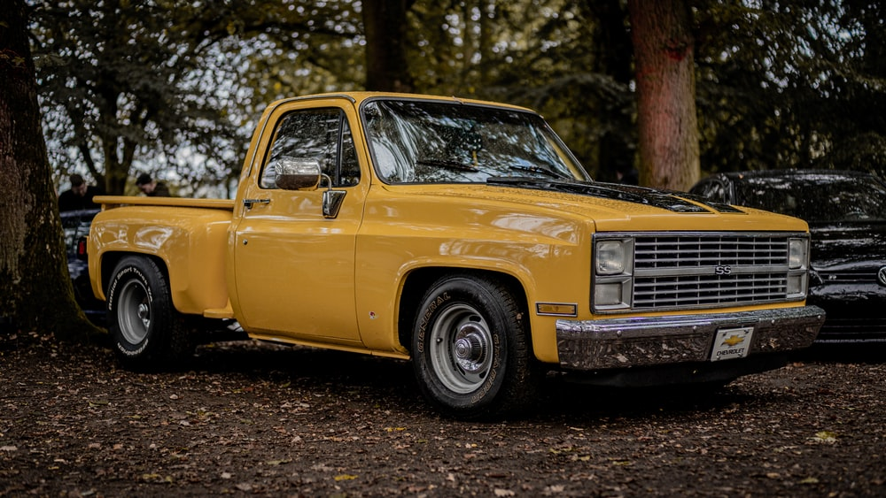yellow chevrolet single cab pickup truck parked on forest during daytime