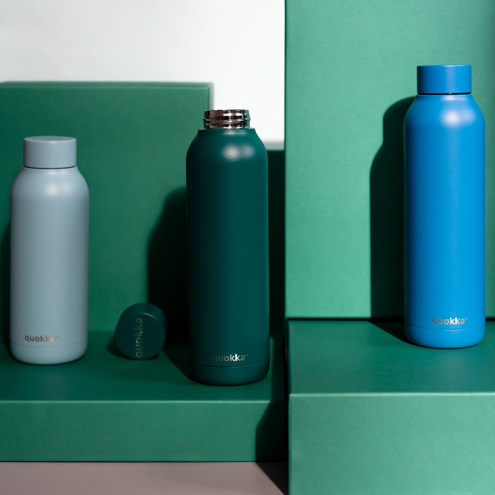 blue and green plastic bottles