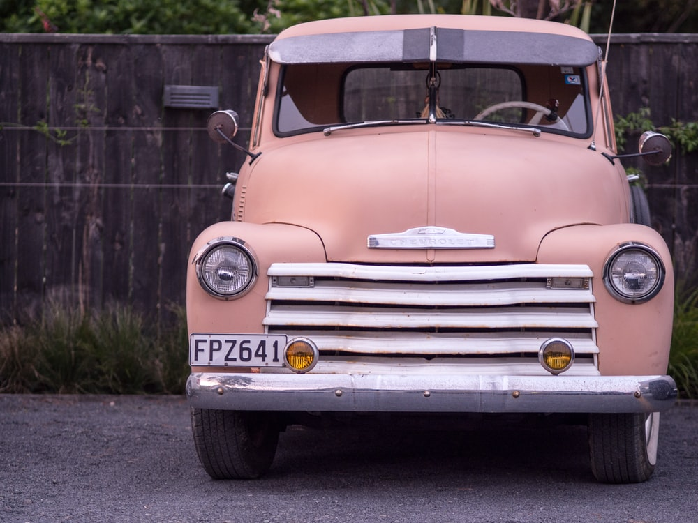 pink and white vintage car