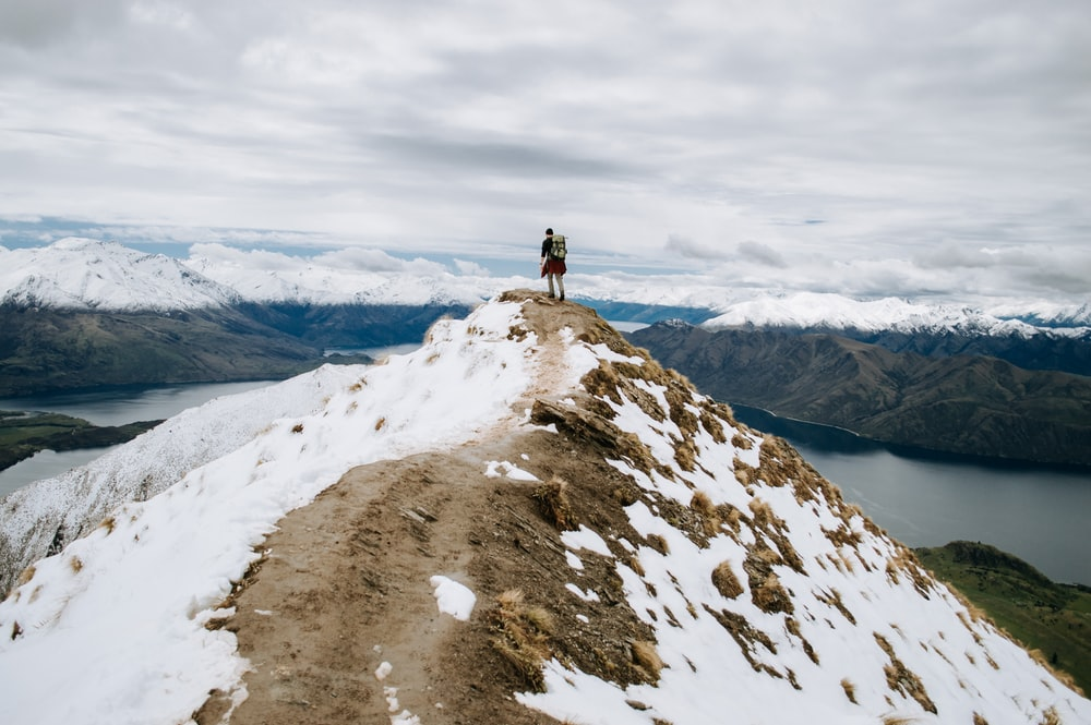 person standing on white snow covered mountain during daytime