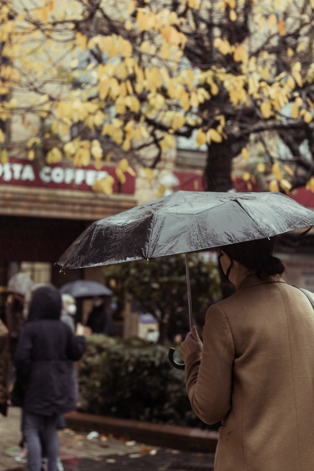 person in brown coat holding umbrella walking on sidewalk during daytime