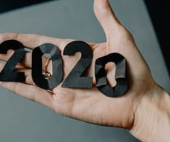 Crinkled cutouts of the number 2020.