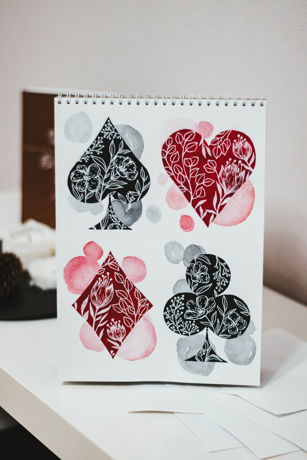 white red and black floral card