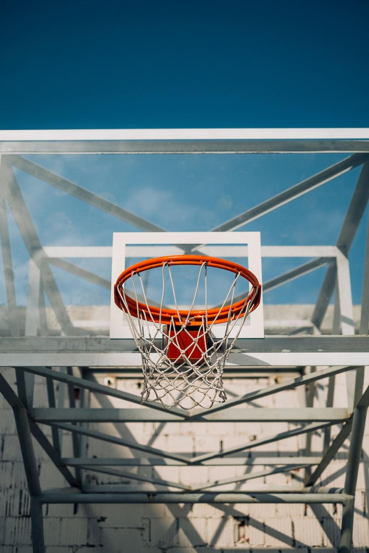 orange and white basketball hoop