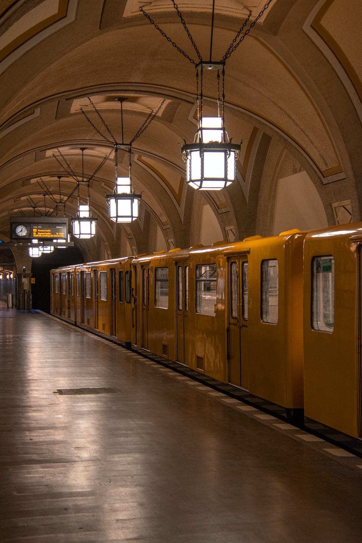 yellow train in train station
