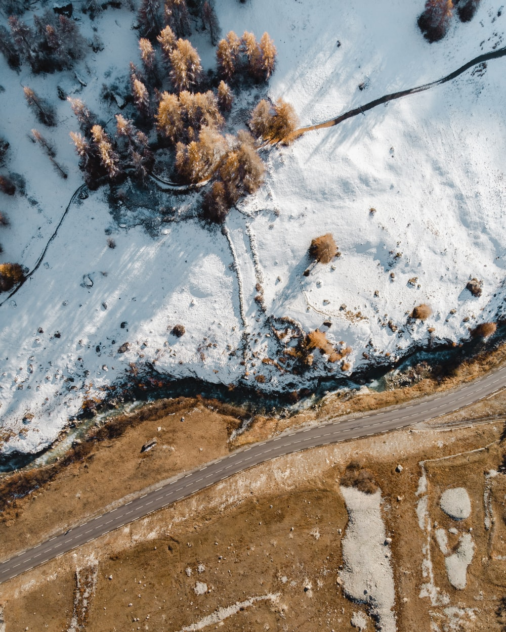 aerial view of snow covered trees during daytime