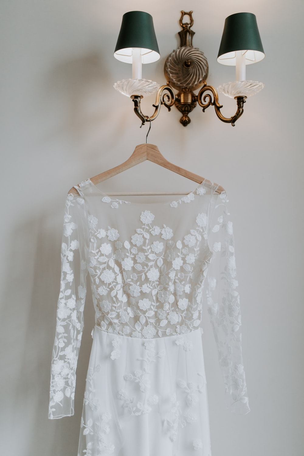white floral lace scoop neck long sleeve dress