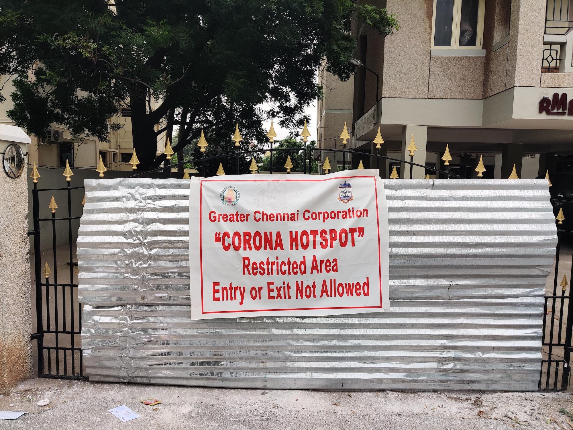 Corona Virus COVID 19 Hotspot Warning Sign at Chennai, India