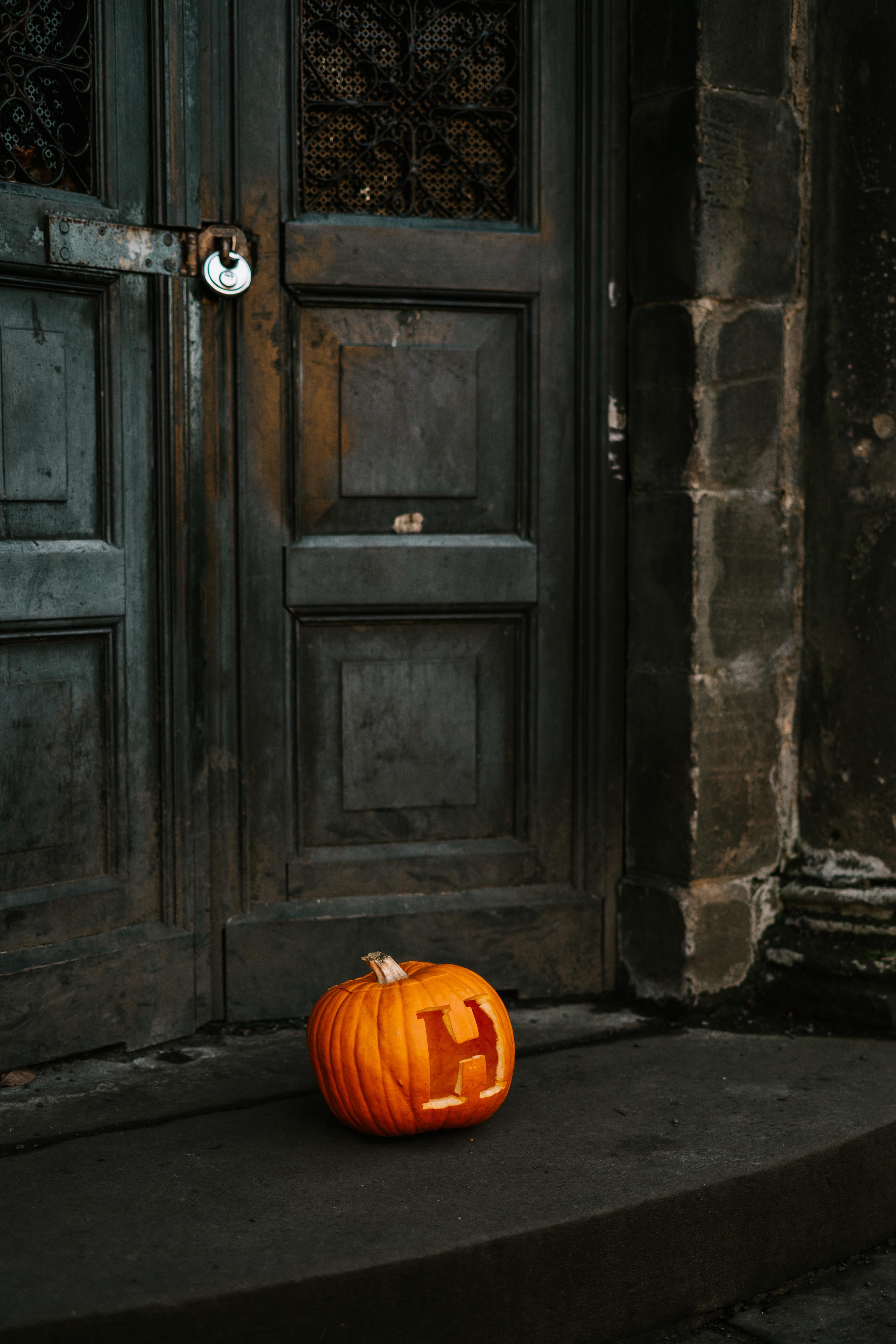 orange-pumpkin-near-black-wooden-door