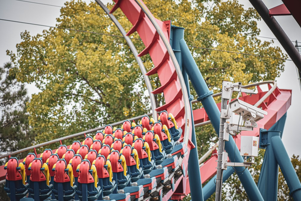 red and blue roller coaster