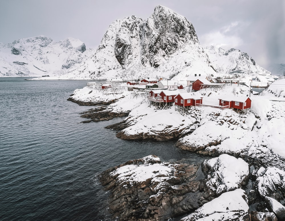 white and red houses near body of water during daytime