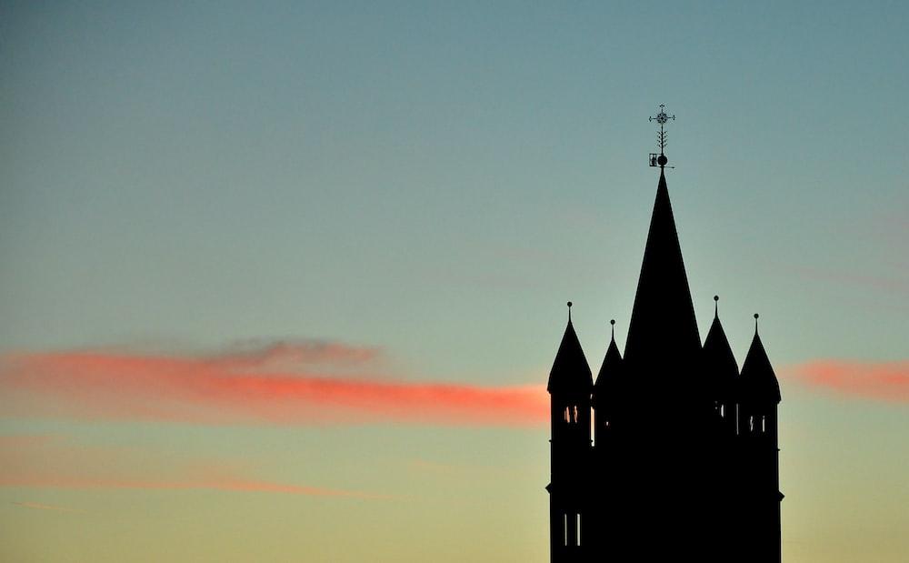 black church under orange sky