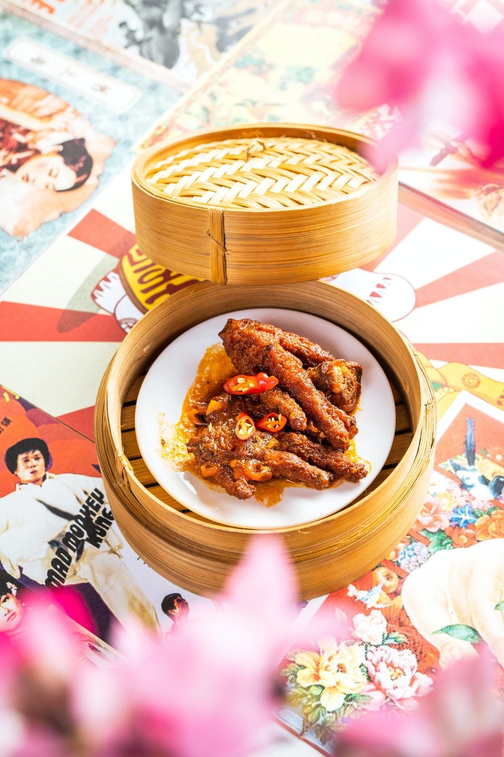 fried food on brown woven round plate
