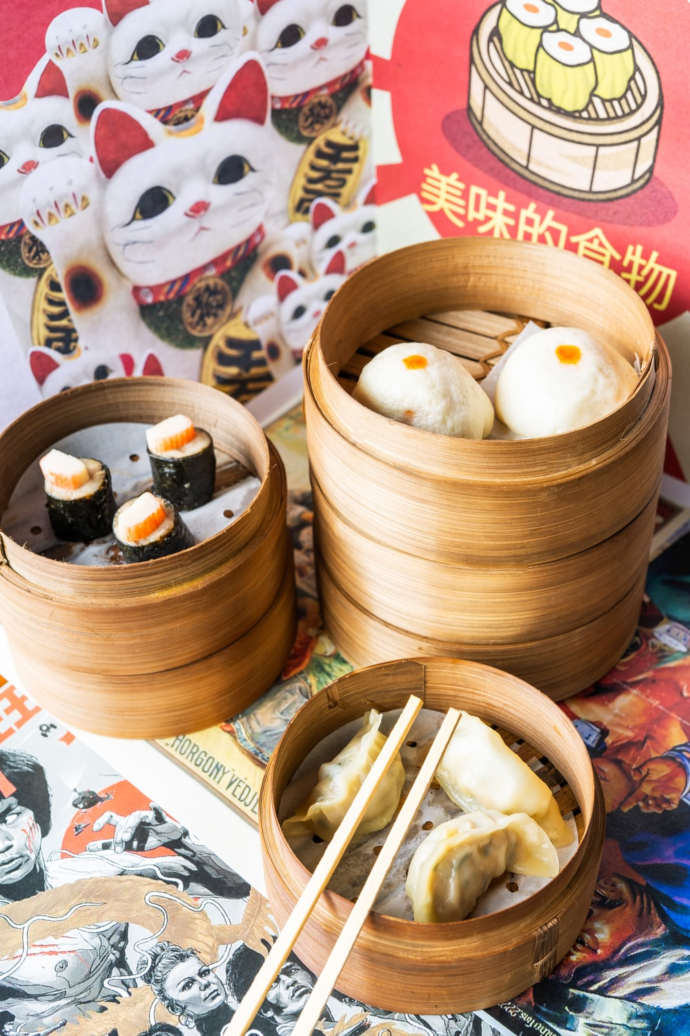 white round food on brown wooden bowl
