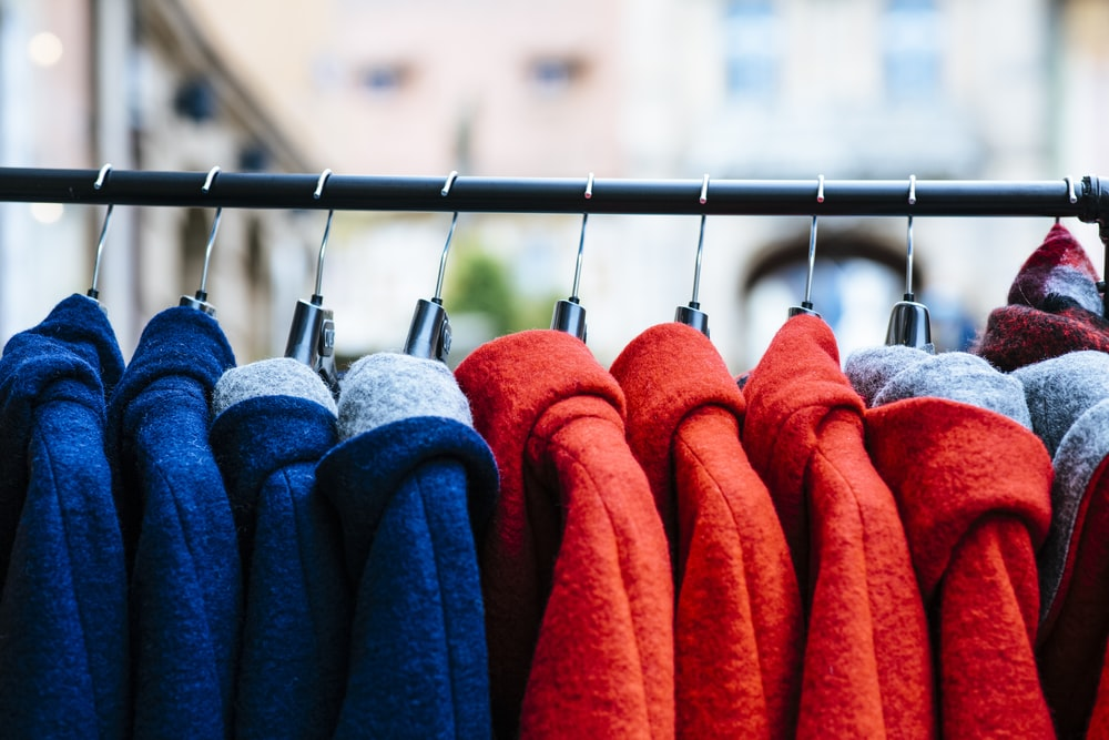 blue red and orange textiles
