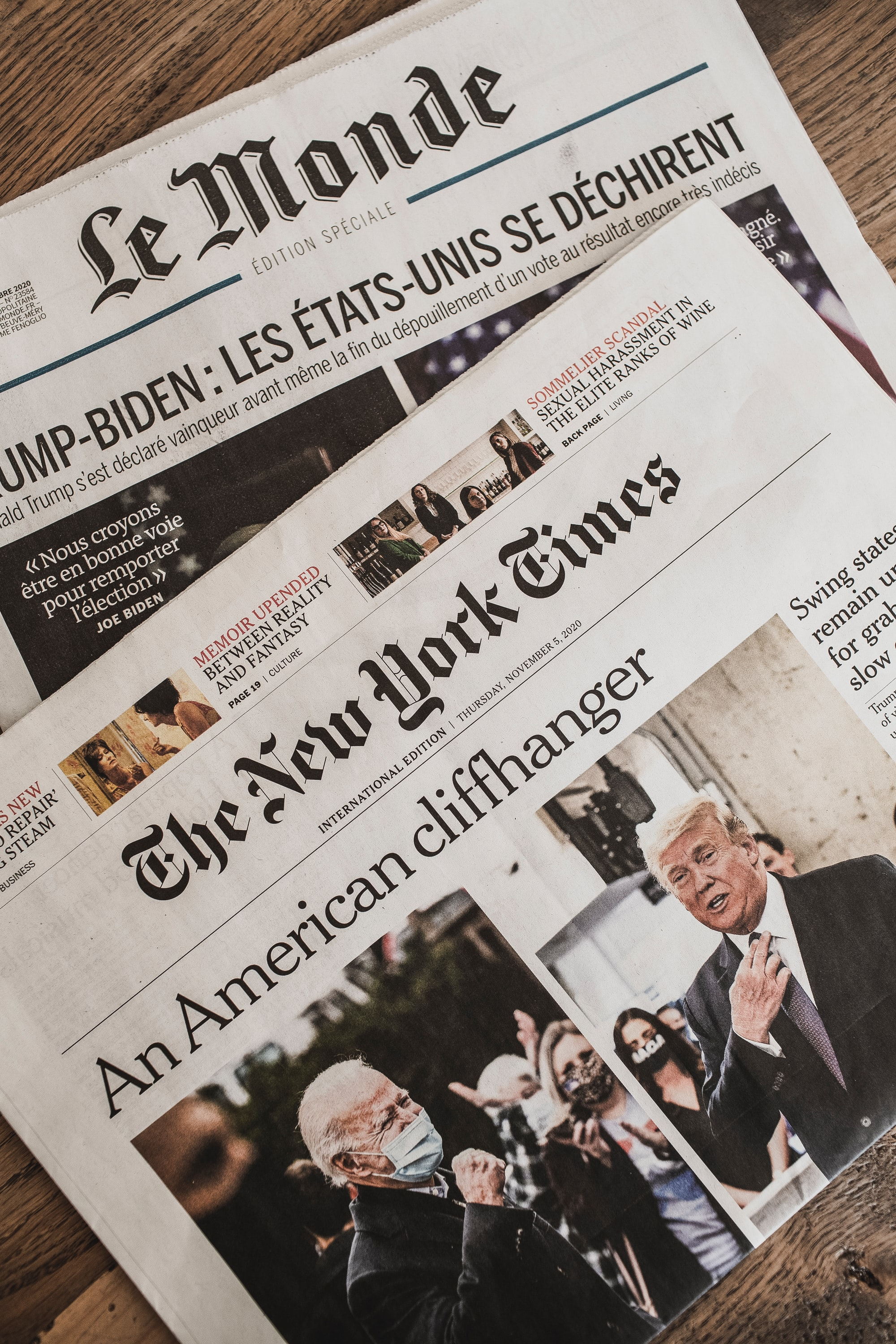 International daily newspaper from Thursday 5th November 2020 – Le Monde (France) & The New York Times (USA) – After the election report.