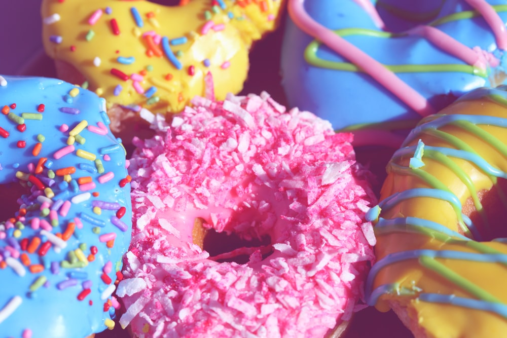 pink yellow and blue floral doughnut