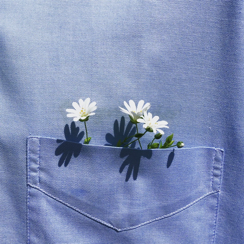 white and yellow flower on blue denim textile