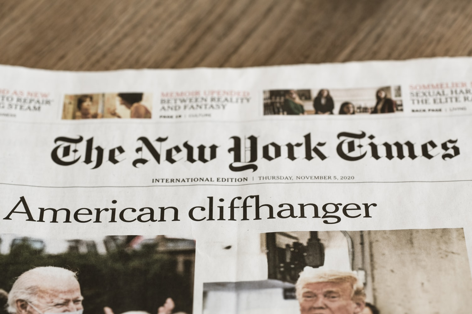 Photo of front page of New York Times