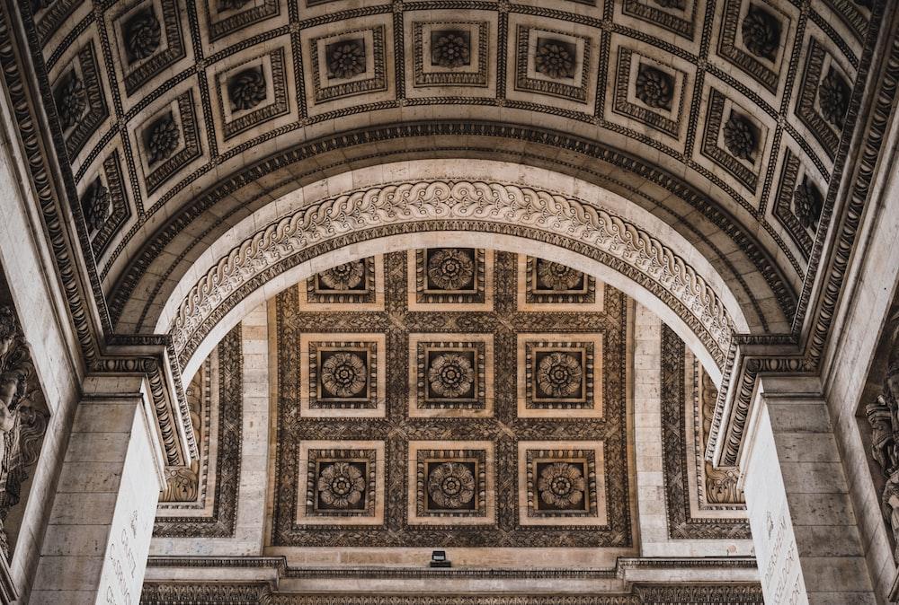 brown and white concrete arch