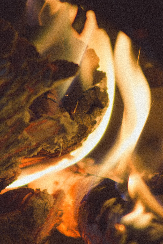 fire in white ceramic bowl