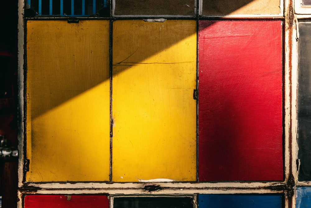 red and yellow wooden wall