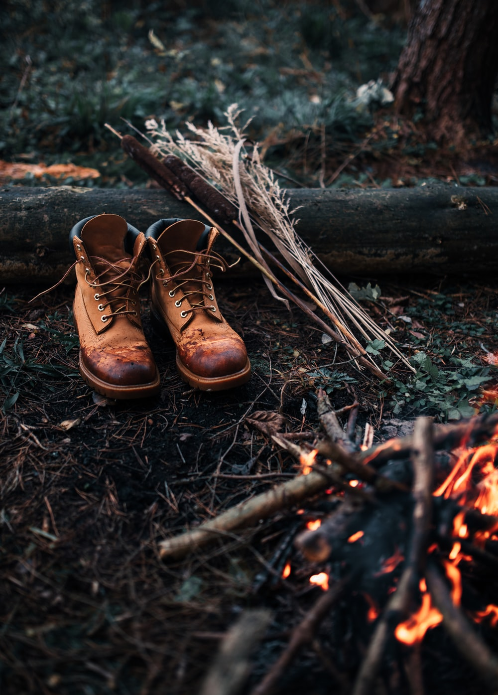brown leather lace up boots on brown wood log