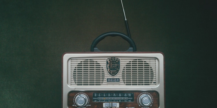 white and brown radio on green surface