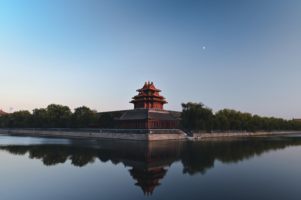 brown and black temple near body of water during daytime