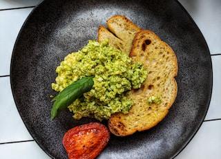 green vegetable on blue ceramic plate
